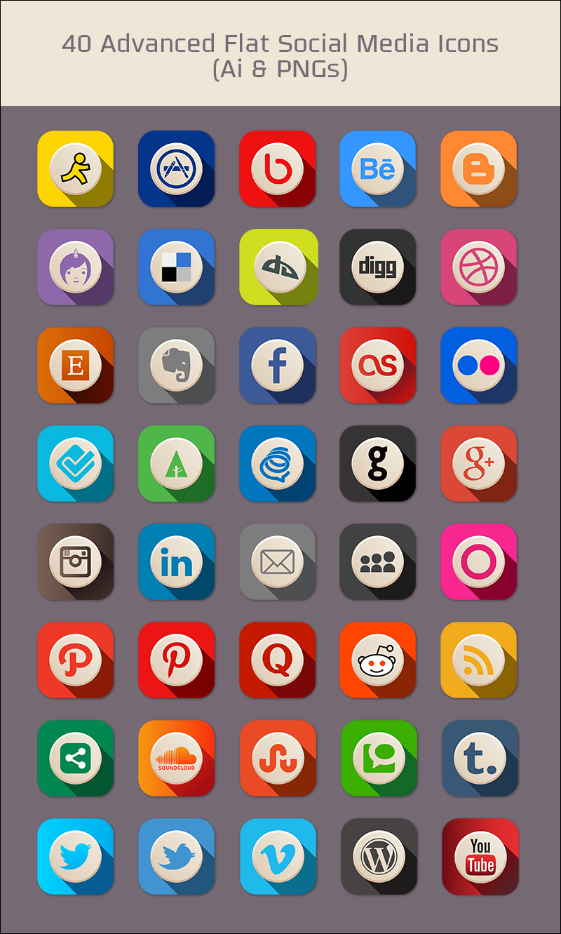 advanced flat social media icons