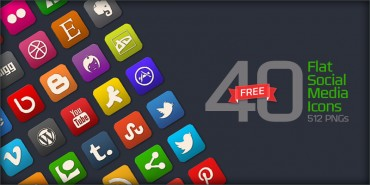 40 Free Flat Social Media Icons (PNGs & Psd File)