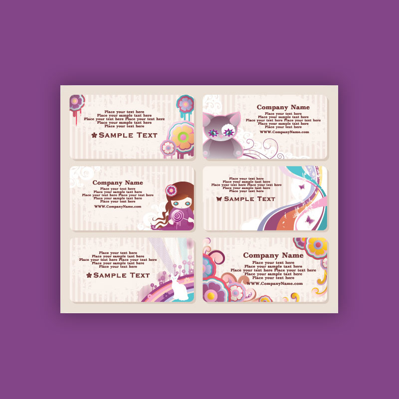 Free Cute Style Business Card Template Vector (Ai & Eps)