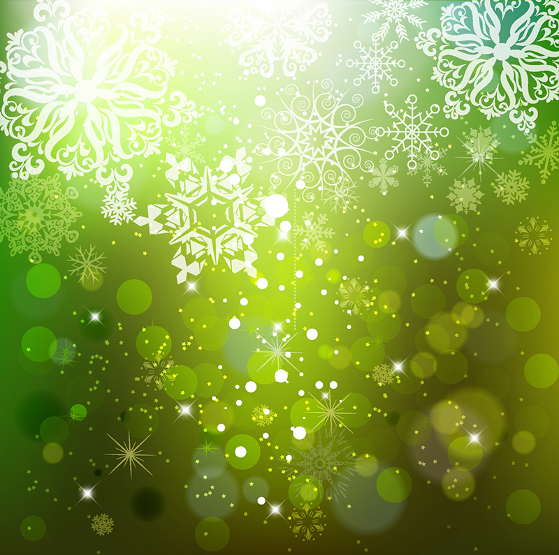 Cascading_Snowflakes_on_Green_Background