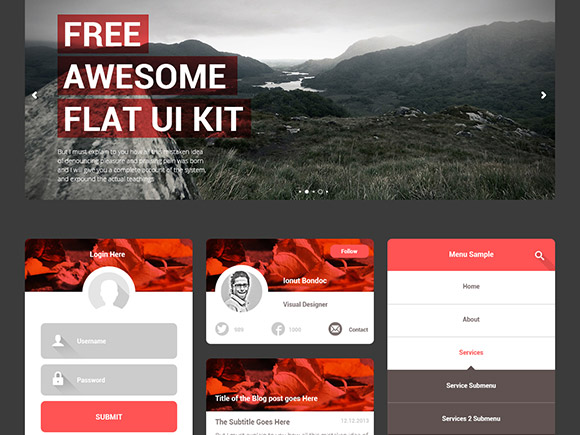 Free-Awesome-Flat-UI-KIT-psd