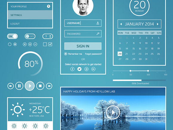 white-stripes-ui-kit-psd