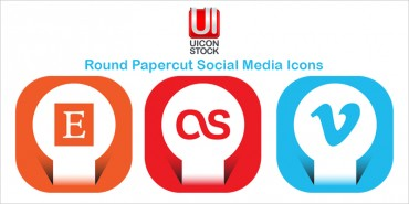 Round Papercut Social Media Icons (Ai & Pngs)