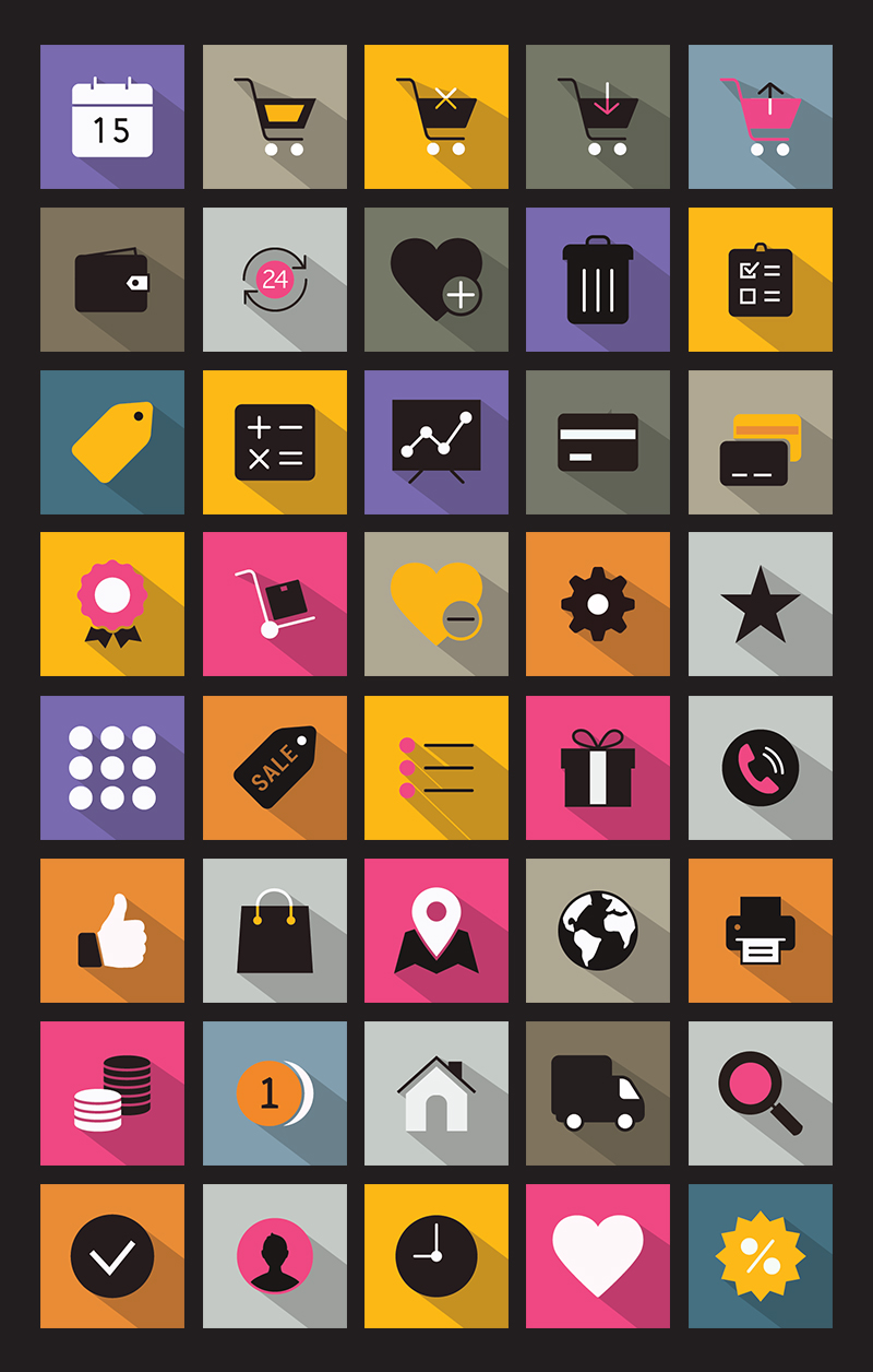 flat icons, long shadow icons