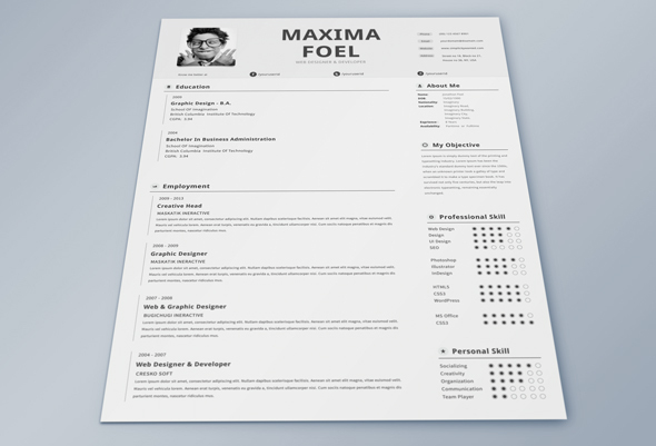 Best Free Professional Cv Resume Template 2014 B 1 A Graphic .  2014 Resume Templates