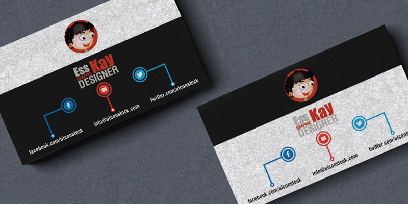 Free Business Card Template With Textured Effect For Graphic Designers Ai