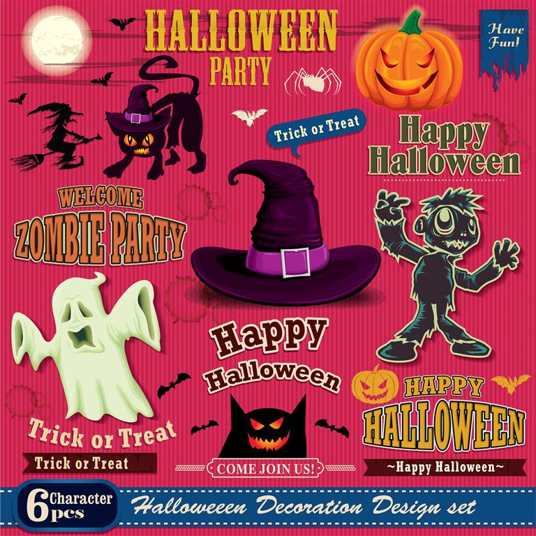 halloween decoration design set