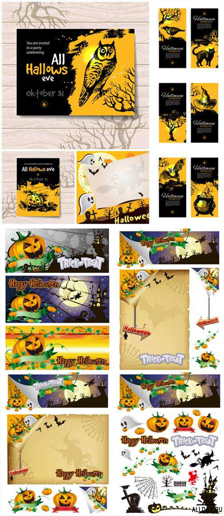 HALLOWEEN-BACKGROUNDS-AND-BANNERS-VECTOR