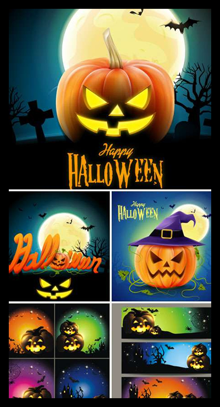 HALLOWEEN-VECTOR-BACKGROUNDS-WITH-PUMPKIN