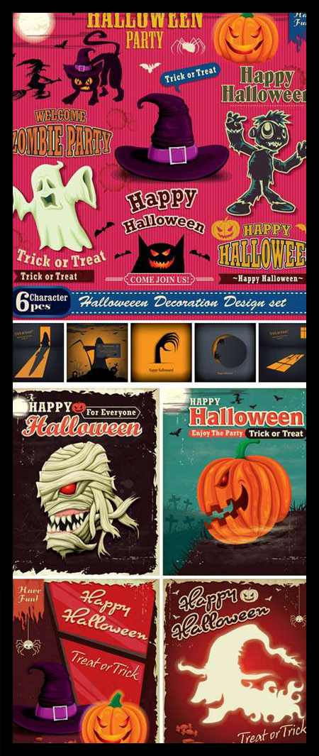 HALLOWEEN-VINTAGE-VECTOR-BACKGROUNDS