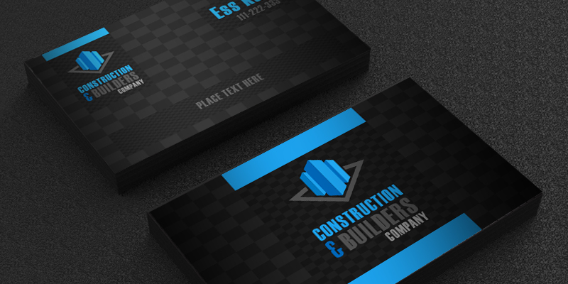 free construction company business card template design