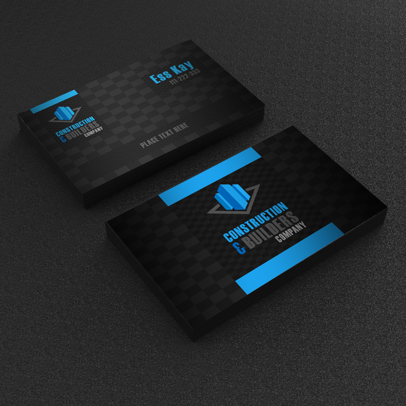 free construction company business card template design a