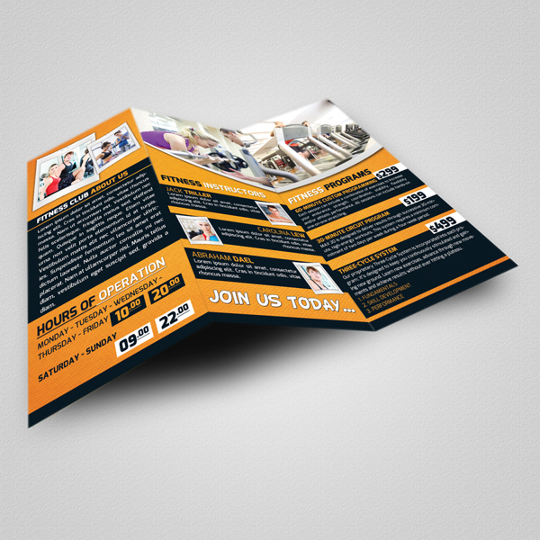 Fitness Club Trifold Brochure & Business Card Template