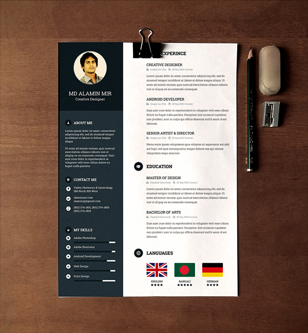 Free Awesome Resume Template 7