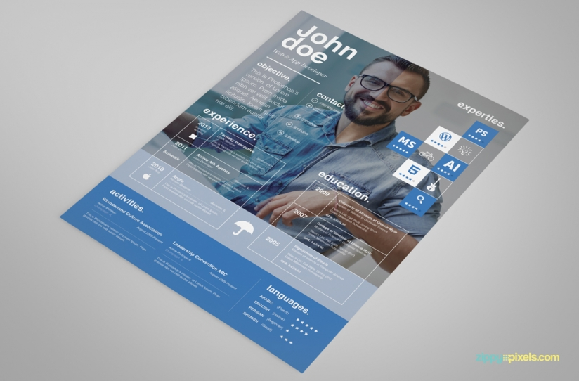 Free Creative Resume Template – Ingenious Design in 3 Colors 4