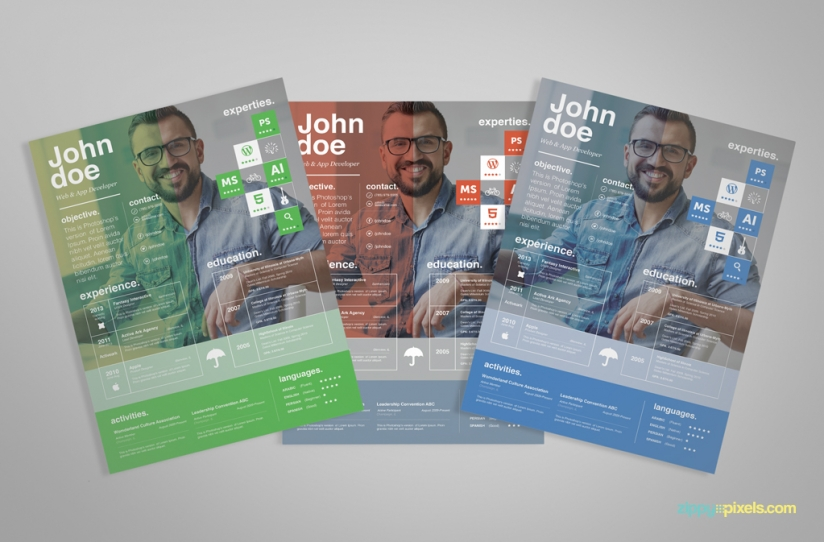 Free Creative Resume Template – Ingenious Design in 3 Colors 6