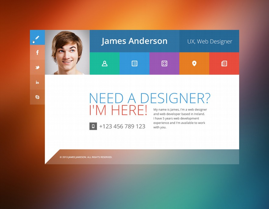 19 Professional Online Resume Cv Wordpress Themes 2014 A Graphic