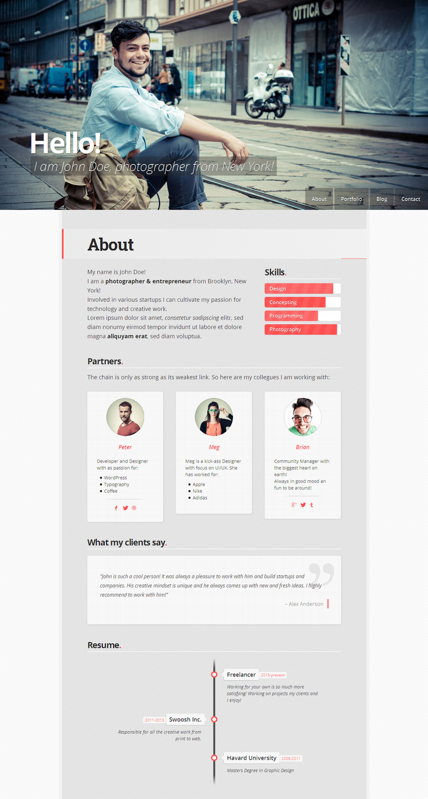 19 professional online resume cv wordpress themes 2014 a