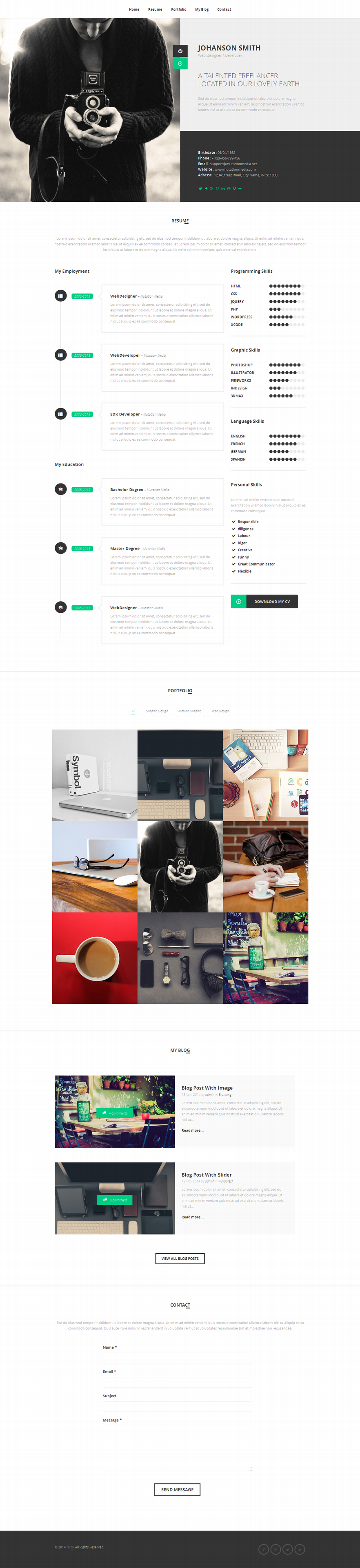 NEW – Retina Ready WordPress Vcard Theme