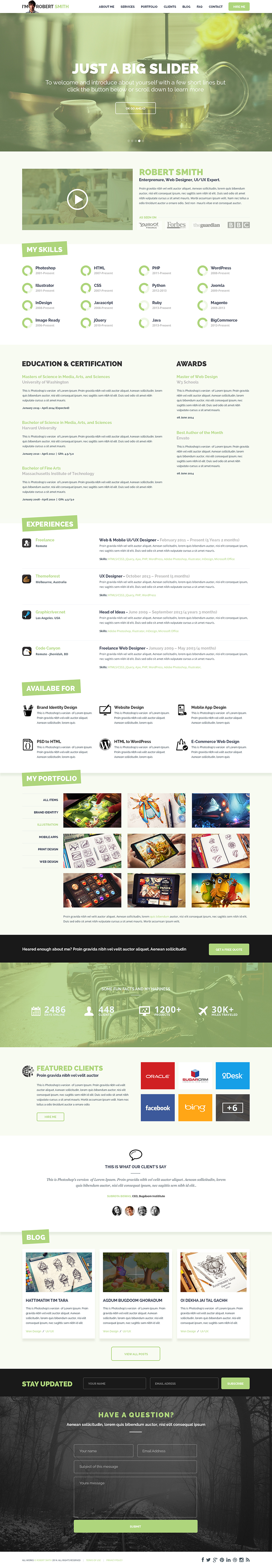 One Page Resume Website Template