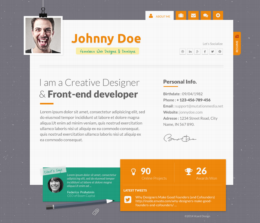 Pxlvcard- Creative and Responsive WP Theme