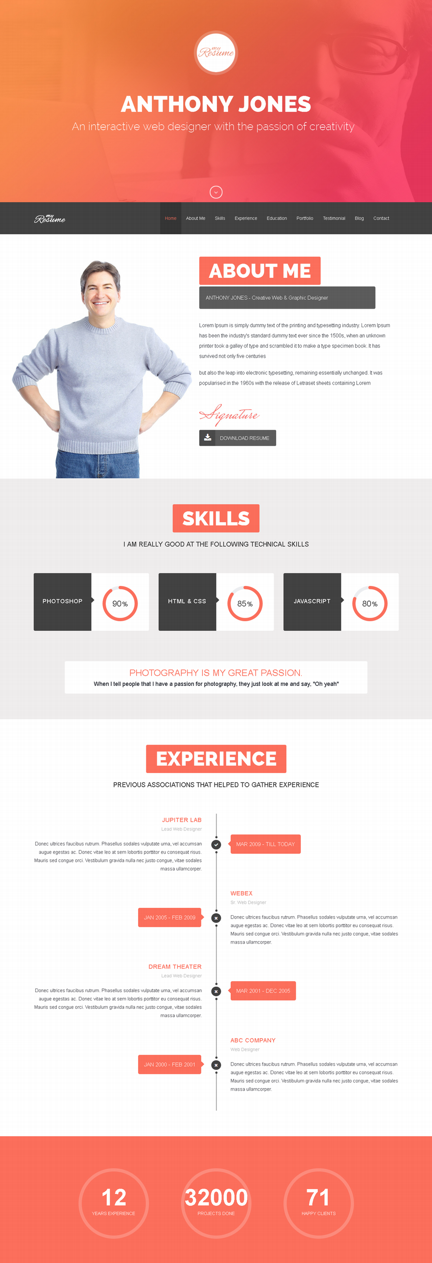 ResumeX – Multipurpose Resume & One Page Portfolio