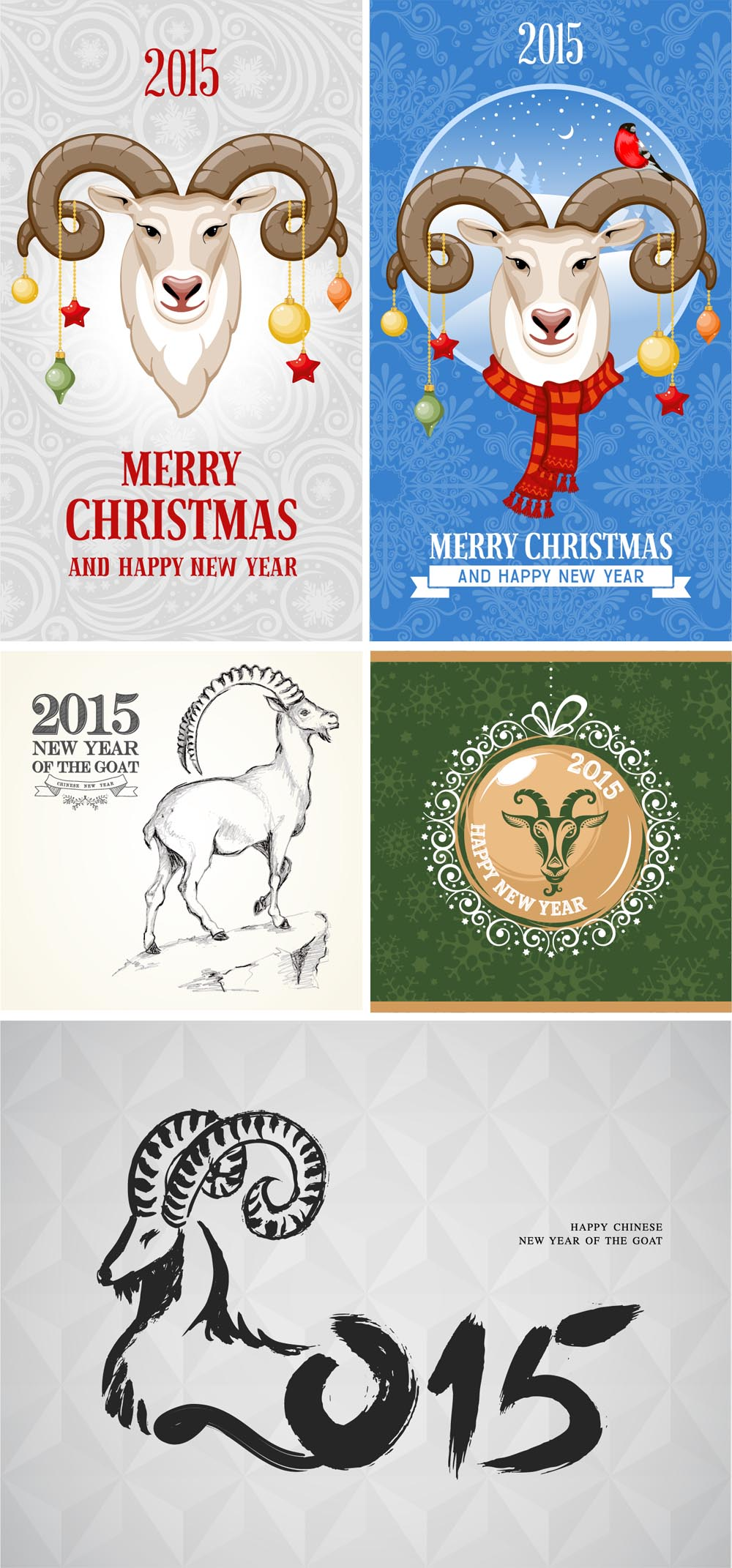 25 Free Vector Happy New Year Greetings Cards 2015 Collection A