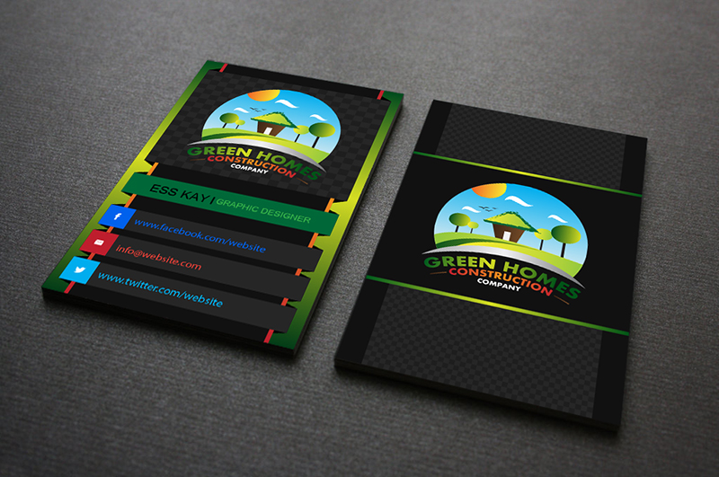 75 free business cards a graphic world business card design for green homes construction company colourmoves