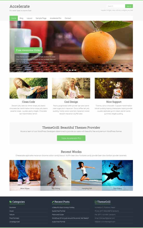 Accelerate Free Responsive WordPress Theme