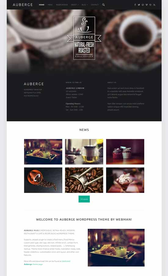 Free Auberge Restaurant WordPress Theme