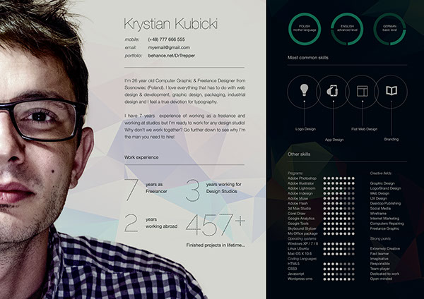 Free CV-Resume Template Design For Creative Designers 4