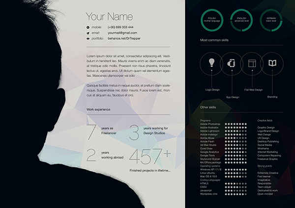 Free CV-Resume Template Design For Creative Designers 6