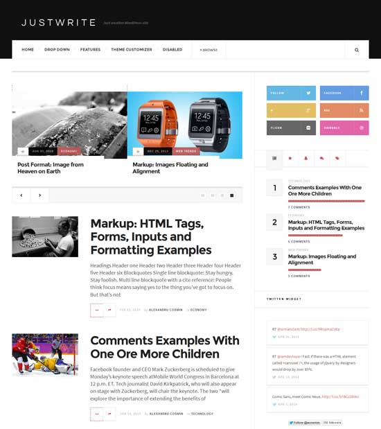 Free JustWrite WordPress Theme