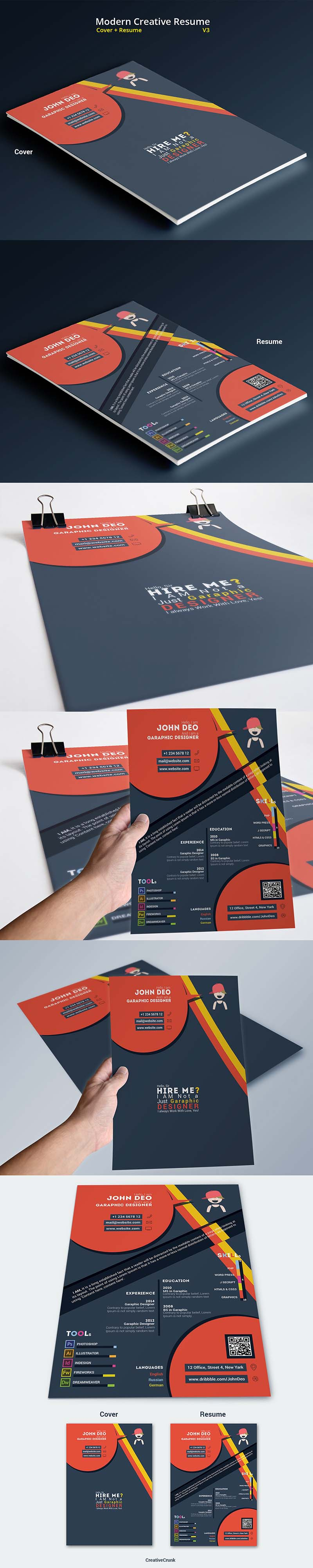 Free Modern Resume-CV Template Design For Creative Designers