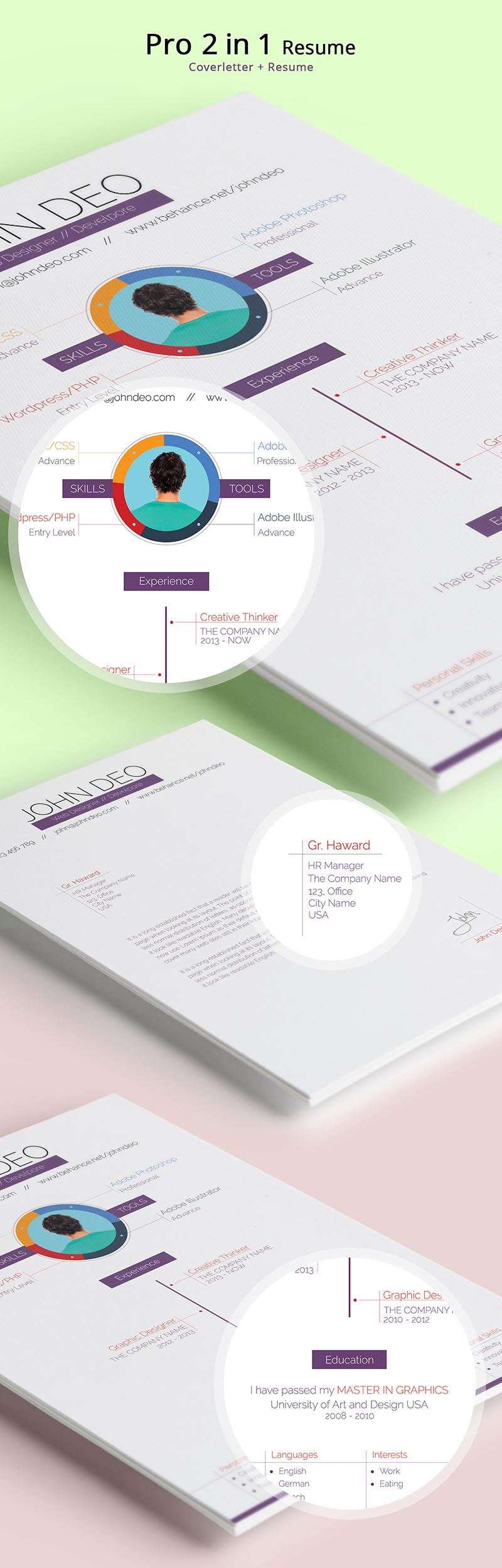 Free Resume-CV Template Design For Web Designers - Developers 2015