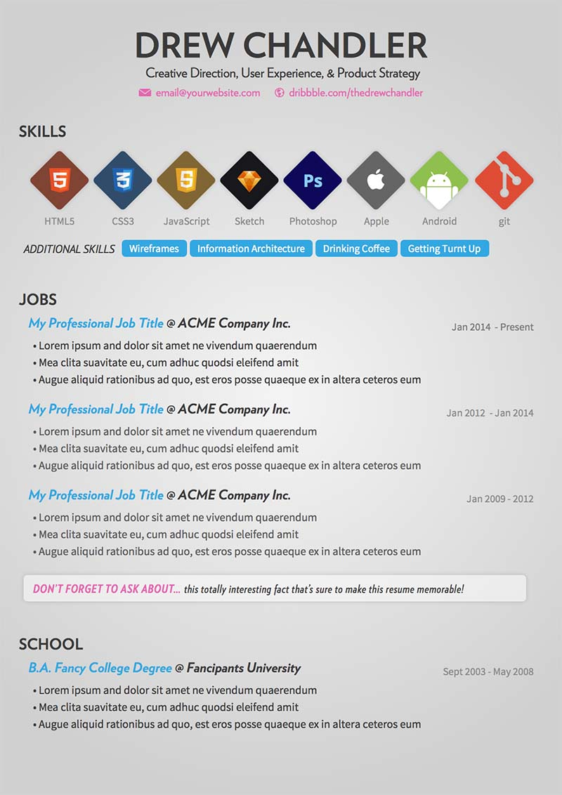 Free Resume Design For Creative Directors and Developers 2015