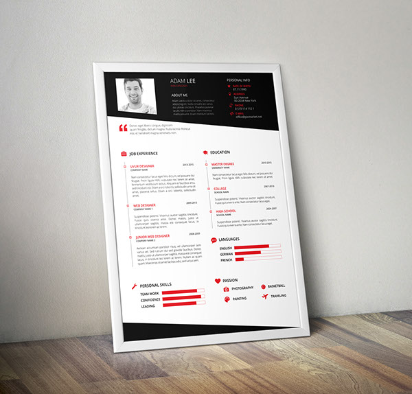 Free Resume Template Design For UI-UX and Web Designers 2015