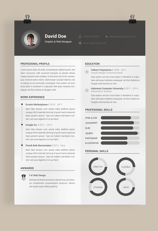 Resume Template Layout | Free Resume Template Design for Graphic and Web Designer 2015