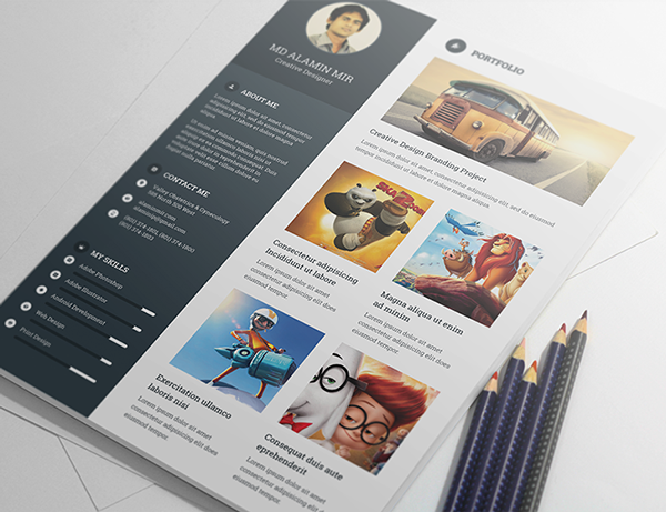 Free Resume Template For Creative Graphic Designer 2015