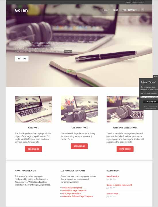 Goran Free Responsive WordPress Theme