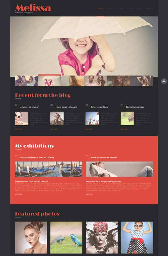Melissa Free Photography WordPress Theme