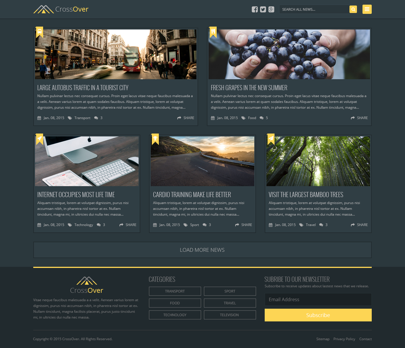 Bootstrap Dark Homepage CrossOver Theme 2015
