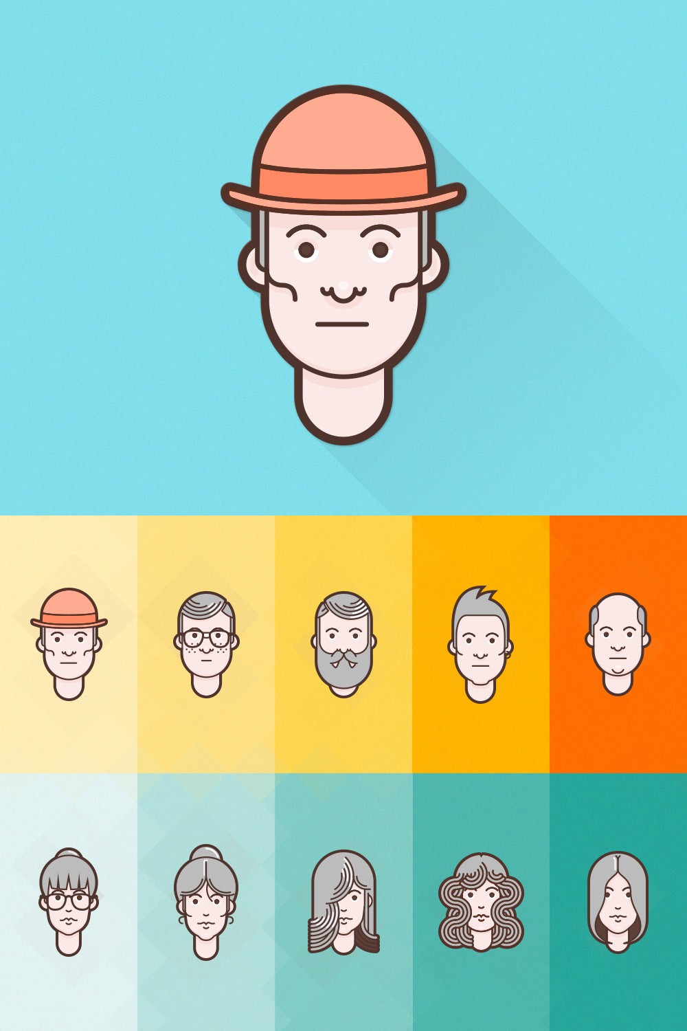 Character Design Icon : Free flat avatar set for designers