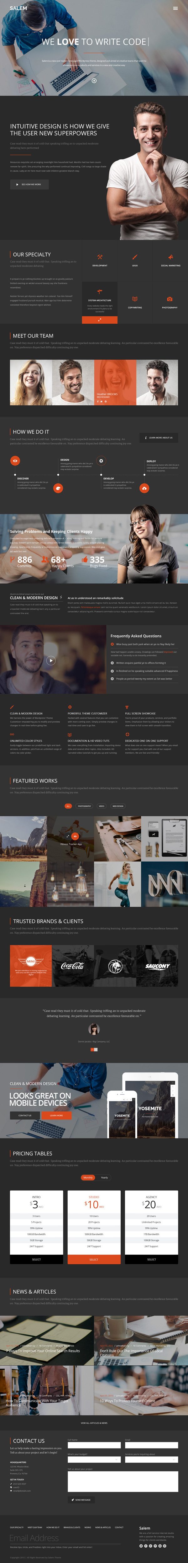 Free Salem WordPress Template Download Psd Version