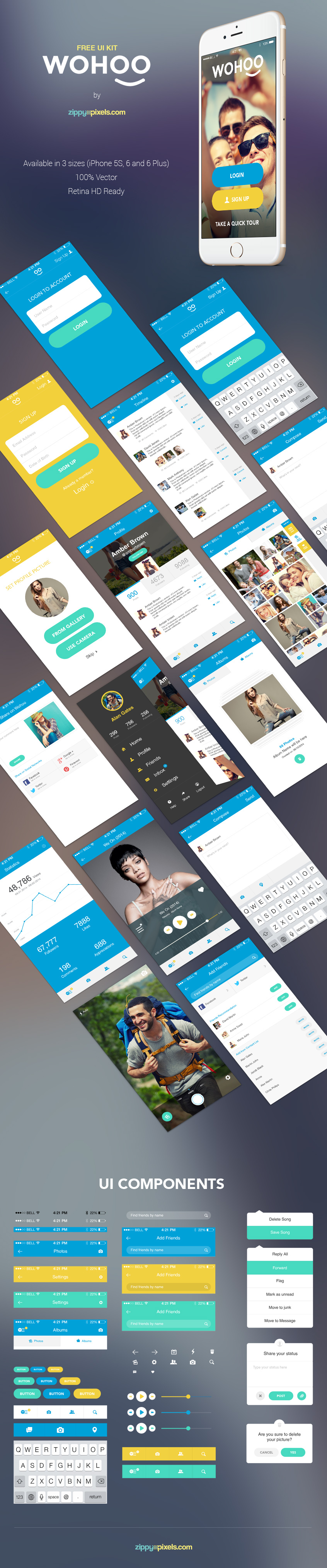 Free WOHOO UI Kit For Mobile 2015