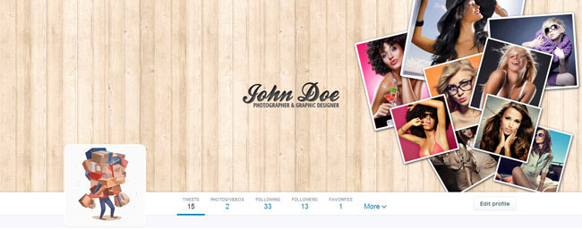 twitter cover for professional photographer