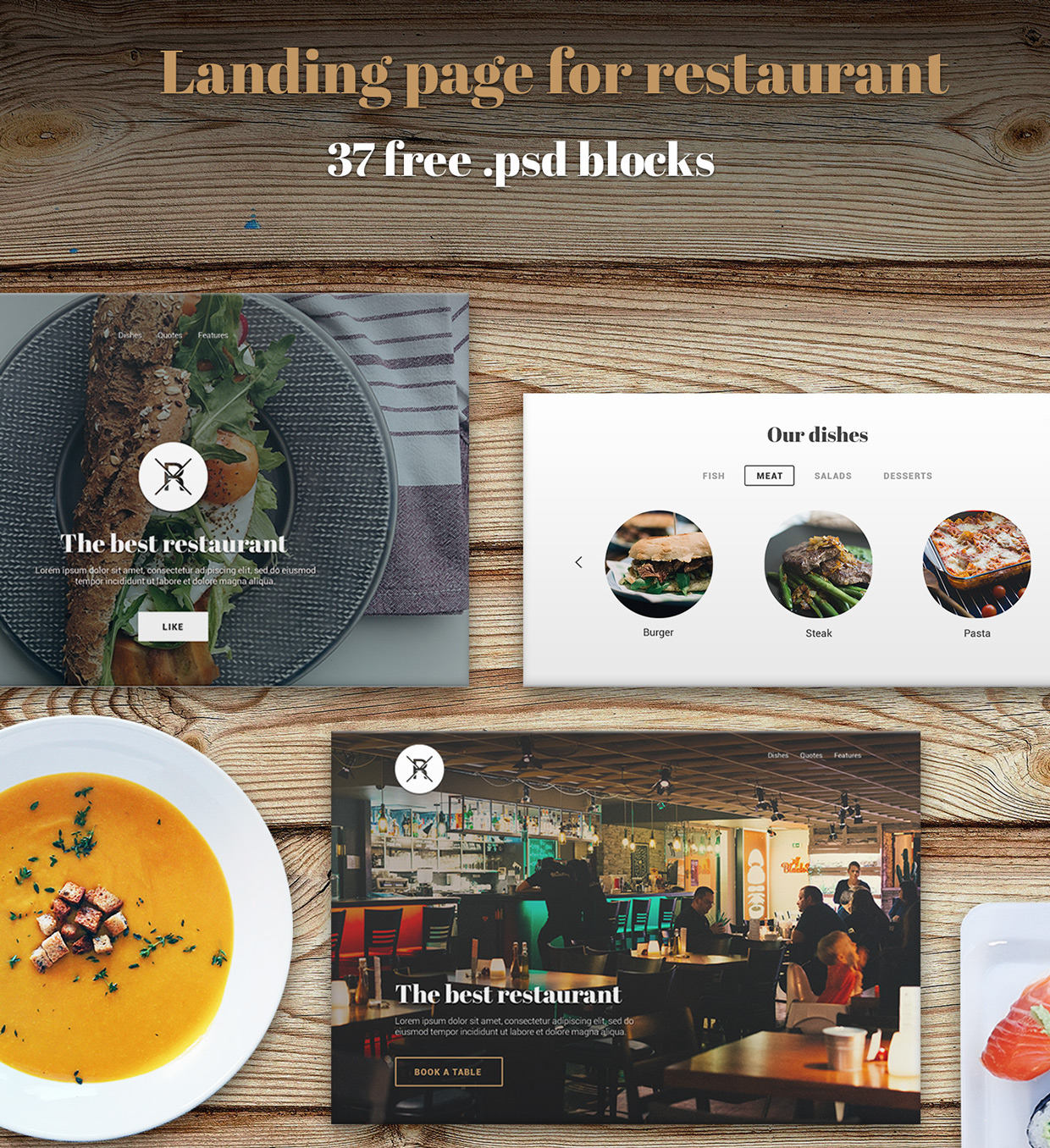 37 Free UX Psd Files of Restaurant Landing Page 2015  (1)