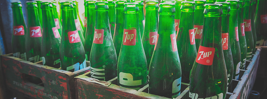 Stacked Retro Glass Bottles Facebook Cover