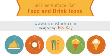 40 Vintage Flat Food and Drinks Icons