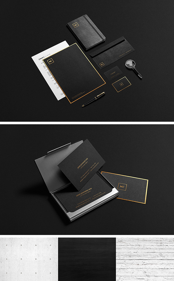 Free Black And Gold Stationery MockUp